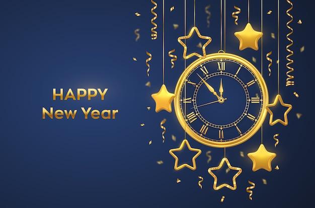 Orologio dorato lucido con numeri romani, orpelli dorati e brillanti stelle dorate su sfondo blu