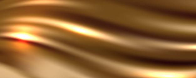 Fondo dorato dell'estratto del tessuto di seta, illustrazione di vettore