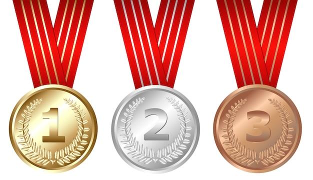 Medaglie d'oro, d'argento, di bronzo, su bianco