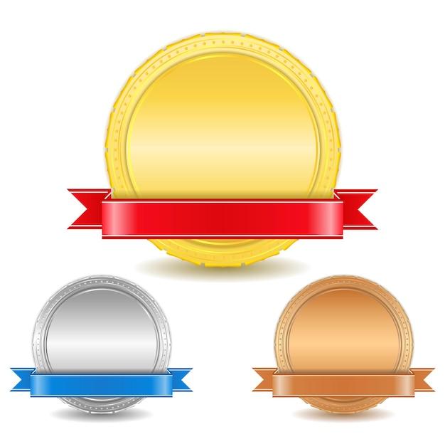 Medaglie d'oro, d'argento e di bronzo con nastri