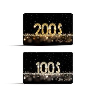 Modelli di carte regalo d'oro e d'argento.