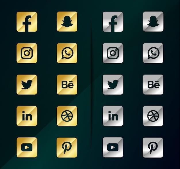 Icone dei social media in argento dorato. pacchetto logo social media