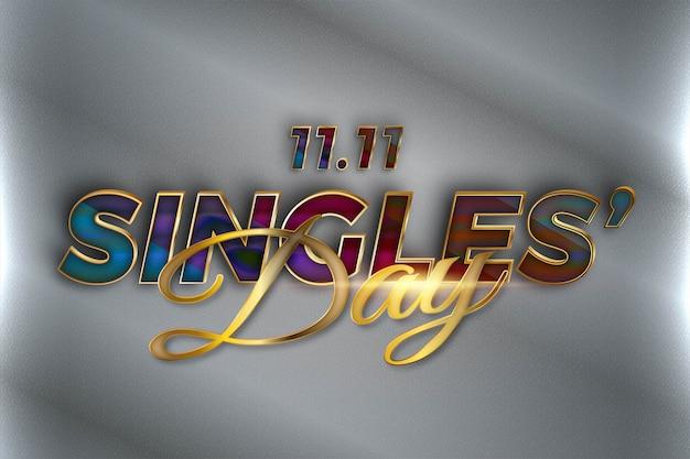 Golden singles 'day celebration realistico concetto 3d