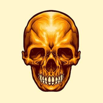 Illustrazione del cranio dorato