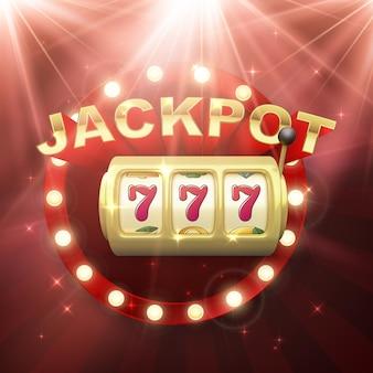 Slot machine d'oro. grande vittoria sulla vincita del casinò jackpot. 777 sulle ruote delle slot machine. insegna retrò su sfondo rosso con raggi di luce. illustrazione vettoriale