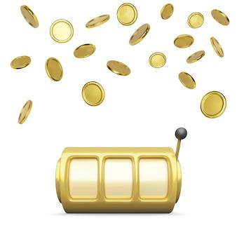 Rendering realistico di slot machine d'oro. grande vittoria sulla vincita del casinò jackpot. le ruote e le monete delle slot machine piovono sullo sfondo. illustrazione vettoriale isolato su sfondo bianco