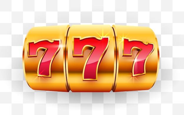 La slot machine dorata vince la grande vincita del jackpot, il jackpot del casinò