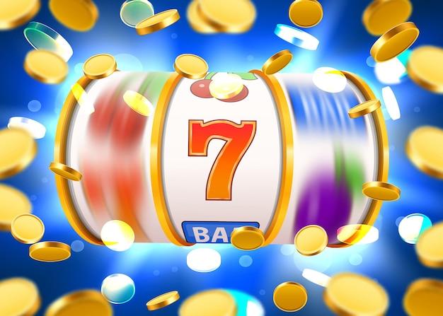 La slot machine dorata con monete d'oro volanti vince il jackpot.