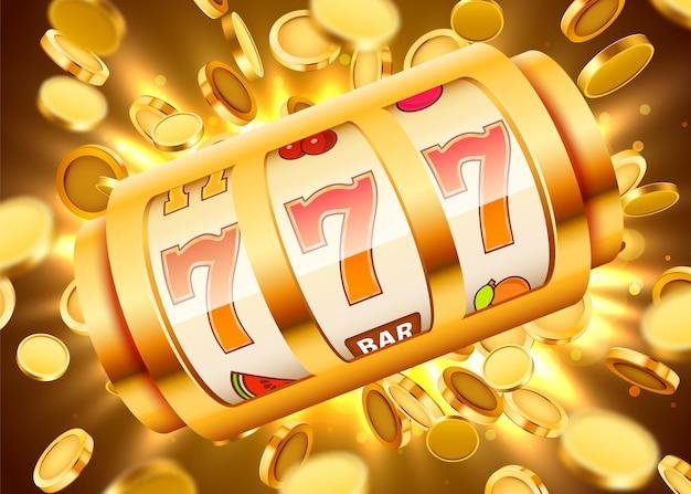 La slot machine dorata con monete d'oro volanti vince il jackpot jack