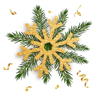Fiocco di neve dorato sui rami di un abete con nastri d'oro