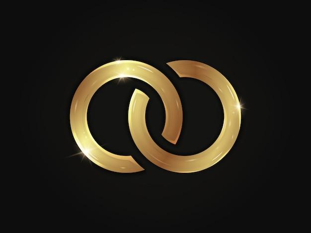 Anelli scintillanti dorati a forma di segno di infinito isolato su sfondo nero