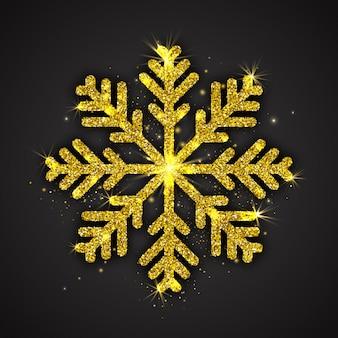 Fiocco di neve scintillante dorato con decorazioni natalizie con struttura luccicante