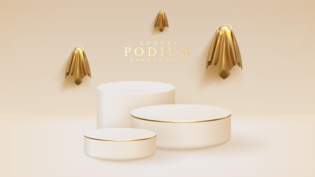 Gli spiriti dorati circondano il podio bianco, il design di sfondo di halloween per mostrare il prodotto. illustrazione realistica di vettore 3d.