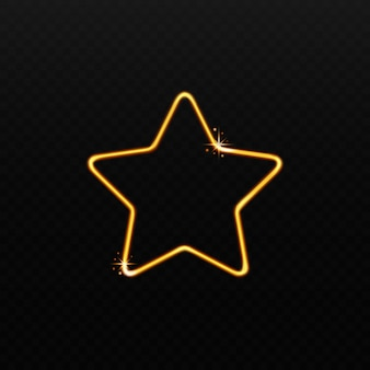 Forma a stella dorata fatta di luce magica scintillante su sfondo nero