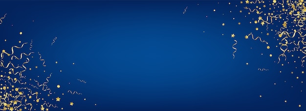 Golden star swirl panoramica sfondo blu