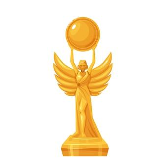 Statua d'oro. vincitore del primo posto, premio, premio. icona di vettore isolato del trofeo d'oro primo posto in stile cartone animato.