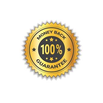 L'autoadesivo dorato indietro con garanzia 100 per cento il contrassegno dell'etichetta ha isolato