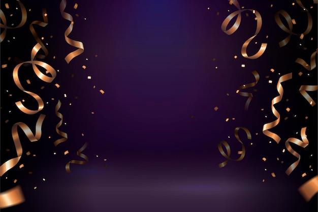 Coriandoli stelle filanti dorati su sfondo viola per usi di design
