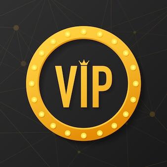 Simbolo d'oro dell'esclusività, l'etichetta vip con glitter. etichetta del vip club sul nero.