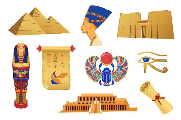 Simboli d'oro dell'illustrazione dell'antico egitto Vettore Premium