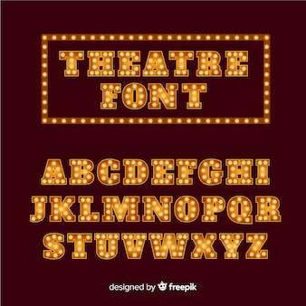 Alfabeto lampadina teatro dorato Vettore Premium