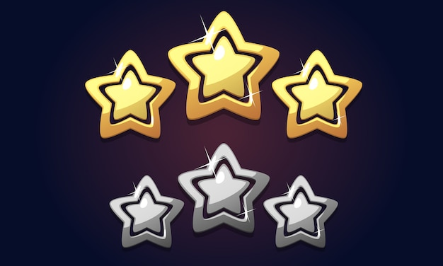 Valutazione dorata dell'icona delle tre stelle isolata