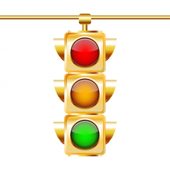 Semafori dorati con tutti e tre i colori accesi
