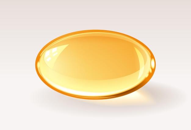 Pillola medica realistica della capsula trasparente dorata o goccia di miele