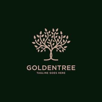 Golden tree oak banyan maple logo design vector