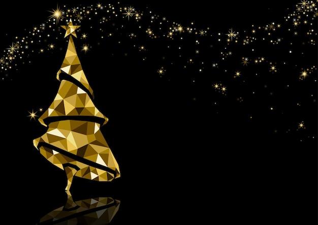 Fondo dell'albero di natale del triangolo dorato con la riflessione