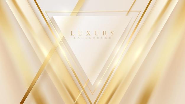 Linea triangolo dorato con elementi di effetti di luce scintillante, sfondo di carta da parati di lusso.