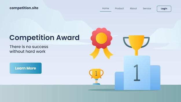 Trofeo d'oro come premio della competizione con slogan non c'è successo senza un duro lavoro per l'illustrazione vettoriale della homepage di atterraggio del modello di sito web