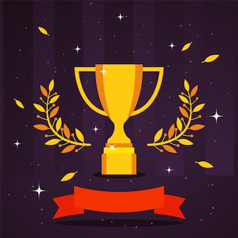 Illustrazione del premio trofeo d'oro. vincitore del premio per la competizione sportiva, coppa del trofeo del campionato. simbolo della vittoria calice d'oro, ramo d'ulivo. cerimonia di premiazione del vincitore del concorso
