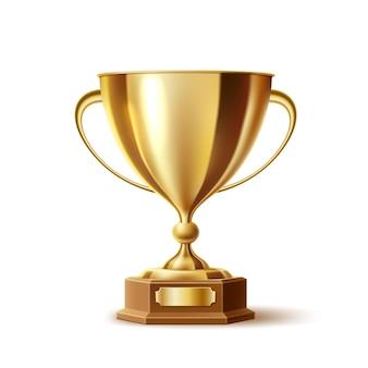 Illustrazione 3d del premio della tazza dorata del trofeo