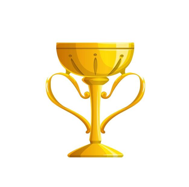 Icona di vettore della tazza del trofeo d'oro del premio del vincitore isolato o del premio del campione. calice d'oro del campionato sportivo, gioco, competizione, concorso o torneo, ricompensa per la leadership e concetto di celebrazione della vittoria