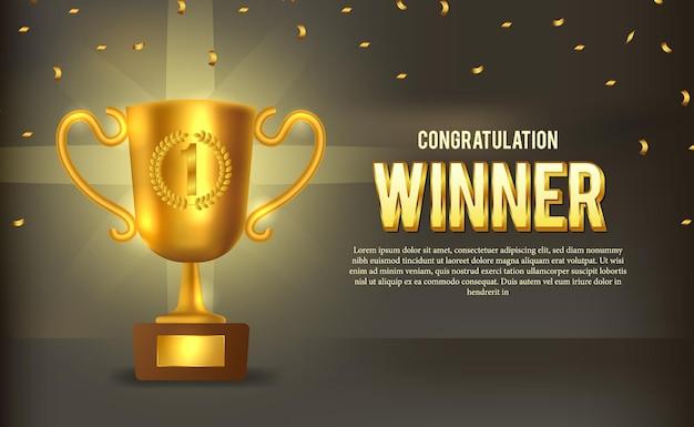 Trofeo d'oro con coriandoli dorati. modello di coppa del vincitore sul palco.