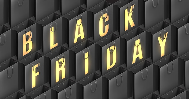 Tipografia dorata black friday su borse della spesa nere.