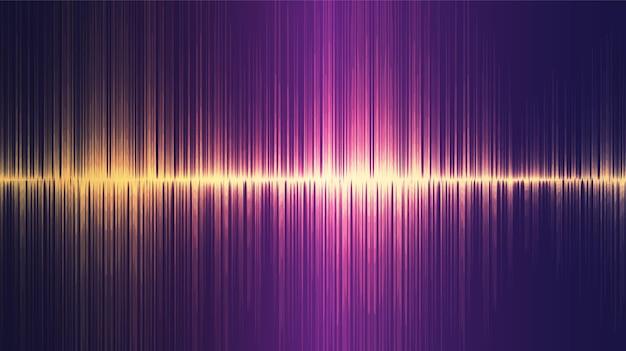Golden ultrasonic sound wave background, tecnologia e concetto di diagramma delle onde del terremoto, design per studio musicale e scienza.