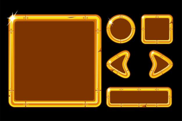 Interfaccia utente dorata per il menu di gioco