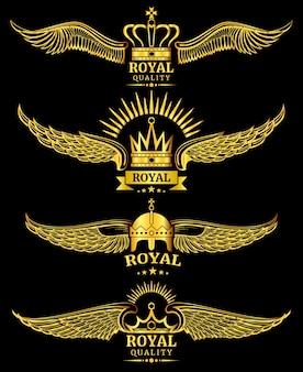 Logo di lusso di qualità reale corona dorata vettore ala