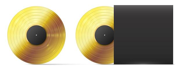 Disco in vinile dorato. disco in vinile oro realistico, modello di premio album musicale record audio di successo, illustrazione vettoriale. coperchio nero per piatto. disco di riproduzione brillante del grammofono per la musica