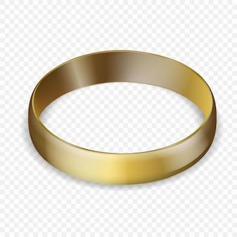 Illustrazione di anello di nozze d'oro isolato su bianco