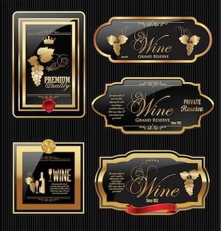 Collezione di etichette di vino d'oro