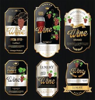 Collezione di design vintage retrò etichette vino d'oro