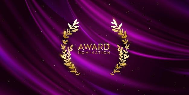 Sfondo glitter vincitore dorato con corona di alloro. banner di design nomina premio. modello di invito di lusso per cerimonia vettoriale, trama di tessuto astratto di seta realistico, affari di nomina del premio
