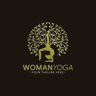 Modello di logo di yoga donna dorata