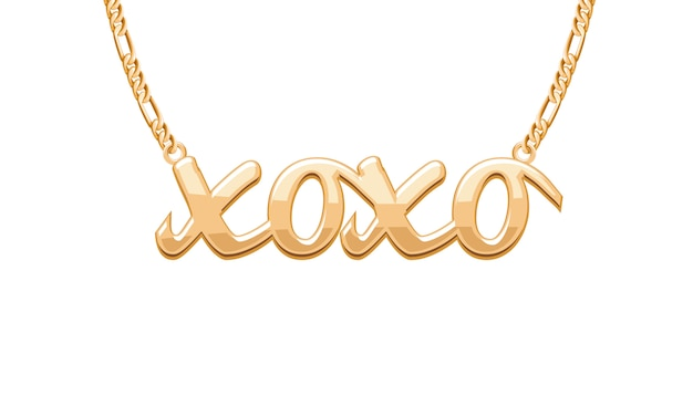 Ciondolo xoxo dorato con parola bacio abbraccio su collana a catena. gioielleria .