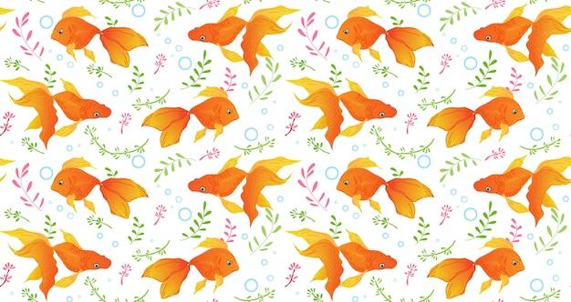 Seamless pattern di pesci rossi