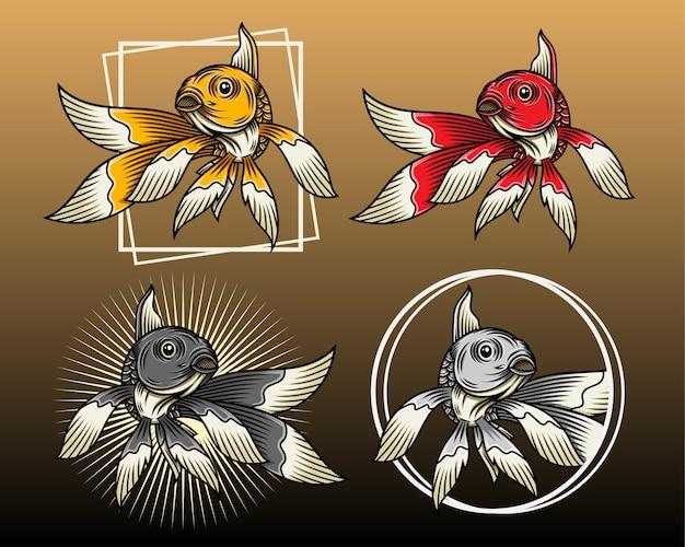 Goldfish set vector illustration con diverso stile e colore
