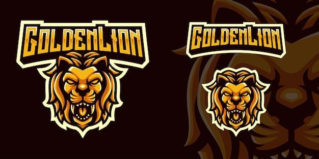 Logo della mascotte di gioco del leone di golen per lo streamer e la community di esports